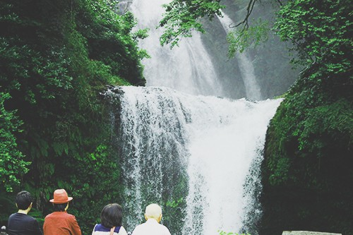 皆さん、滝の豪快さにうっとり。